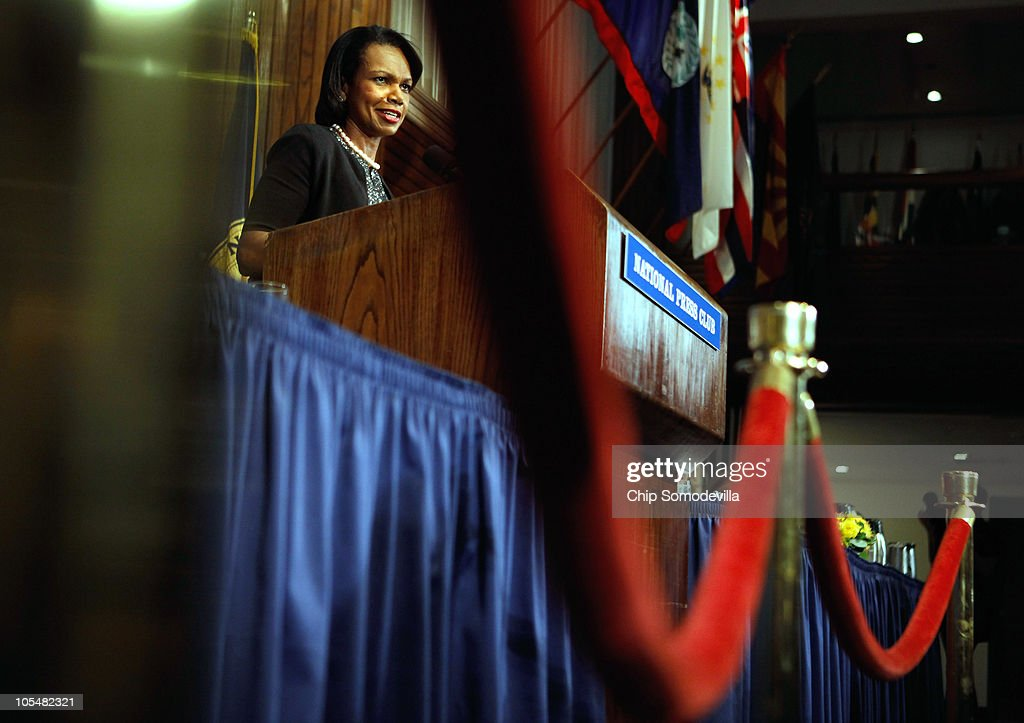Former Secretary of State <a gi-track='captionPersonalityLinkClicked' href=/galleries/search?phrase=Condoleezza+Rice&family=editorial&specificpeople=157540 ng-click='$event.stopPropagation()'>Condoleezza Rice</a> talks about her new book, 'Extraordinary, Ordinary People: A Memoir of Family,' during the Newsmakers luncheon at the National Press Club October 15, 2010 in Washington, DC. The book is about Rice's family and growing up in racially-segregated Birmingham, Alabama, during the 1950s and 60s.