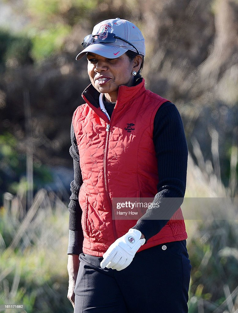 Former Secretary of State Condoleezza Rice walks off a tee box during the third round of the AT&T Pebble Beach National Pro-Am at Spyglass Hill on February 9, 2013 in Pebble Beach, California.
