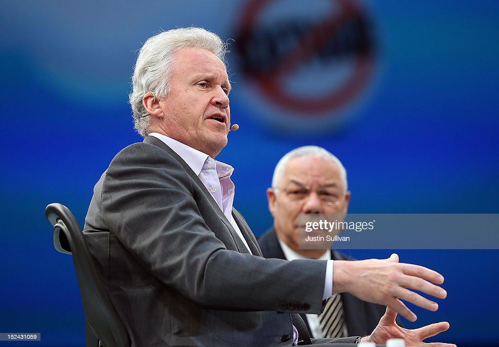 Former Secretary of State Gen. Colin Powell (R) looks on as General Electric CEO Jeff Immelt (L) speaks during the Dreamforce 2012 conference at the Moscone Center on September 20, 2012 in San Francisco, California. A reported 90,000 people registered to attend the cloud computing industry conference Dreamforce 2012 that runs through September 21.