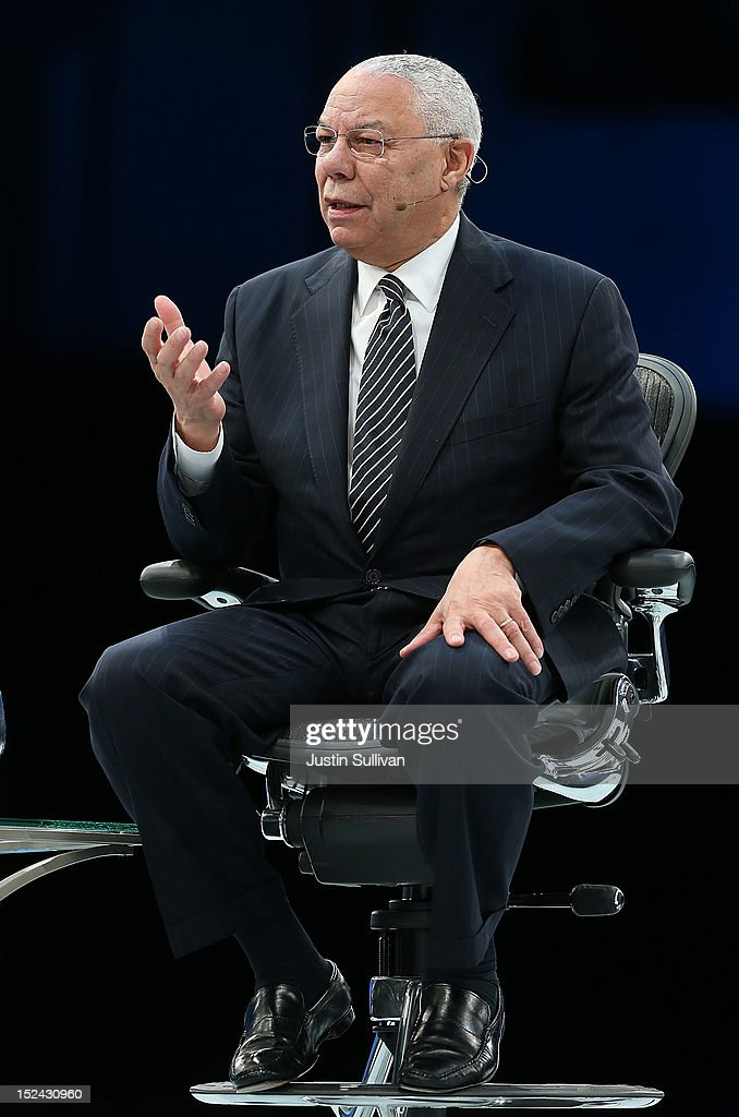 Former Secretary of State Gen. <a gi-track='captionPersonalityLinkClicked' href=/galleries/search?phrase=Colin+Powell&family=editorial&specificpeople=118599 ng-click='$event.stopPropagation()'>Colin Powell</a> speaks during the Dreamforce 2012 conference at the Moscone Center on September 20, 2012 in San Francisco, California. A reported 90,000 people registered to attend the cloud computing industry conference Dreamforce 2012 that runs through September 21.