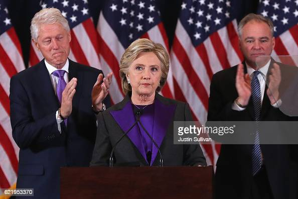 Former Secretary of State Hillary Clinton accompanied by her husband former President Bill Clinton and running mate Tim Kaine concedes the...