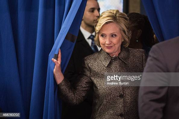 Former Secretary of State Hillary Clinton attends a round table conversation and press conference announcing a childhood development initiative with...