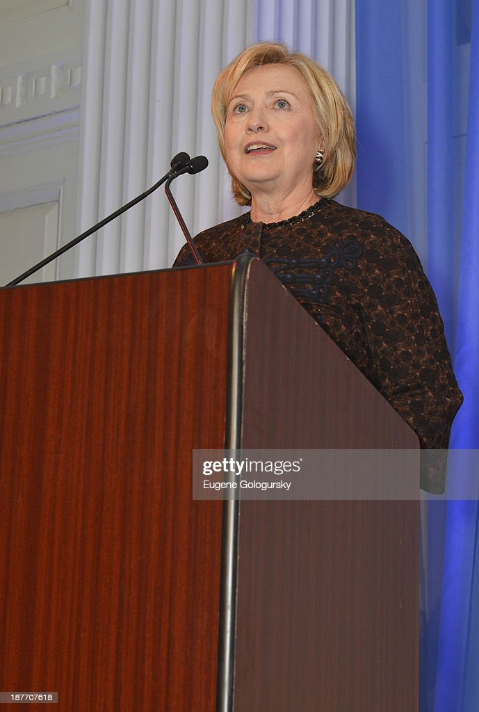Former Secretary of State <a gi-track='captionPersonalityLinkClicked' href=/galleries/search?phrase=Hillary+Clinton&family=editorial&specificpeople=76480 ng-click='$event.stopPropagation()'>Hillary Clinton</a> attends the The East Harlem School 2013 Fall Benefit Honoring Susan And Alan Patricof on November 11, 2013 in New York City.