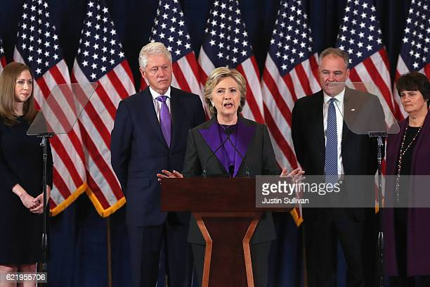 Former Secretary of State Hillary Clinton concedes the presidential election as Chelsea Clinton Bill Clinton Tim Kaine and Anne Holton listen at the...