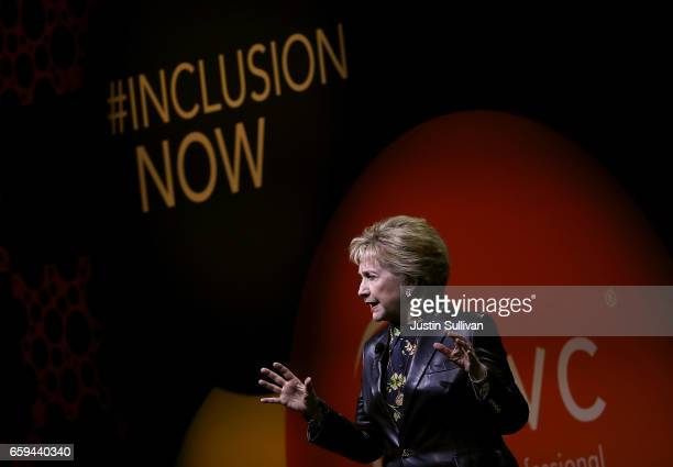 Former Secretary of State Hillary Clinton delivers a keynote address during the 28th Annual Professional Business Women of California conference on...