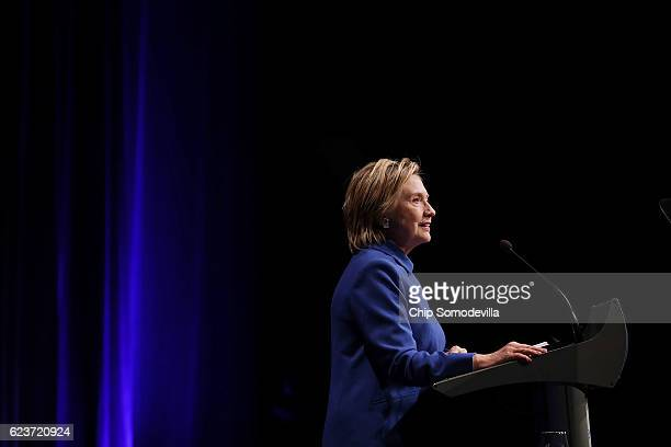 Former Secretary of State Hillary Clinton delivers remarks while being honored during the Children's Defense Fund's Beat the Odds Celebration at the...
