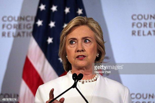 Former Secretary of State Hillary Clinton gives a speech on her approach to defeating the Islamic State terrorist network in Syria Iraq and across...