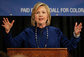 Former Secretary of State Hillary Clinton speaks at a rally on October 21 2014 in Aurora Colorado Clinton along with US Sen Mark Udall US Sen Michael...