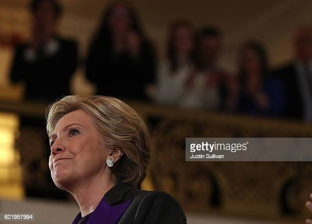 Former Secretary of State Hillary Clinton speaks during a news conference at the New Yorker Hotel on November 9 2016 in New York City Hillary Clinton...