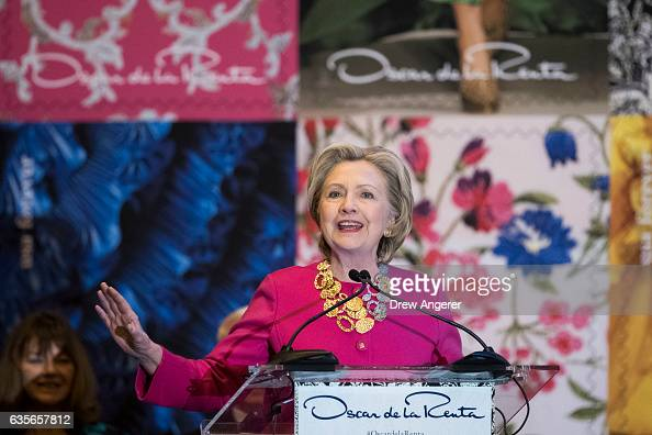 Former Secretary of State Hillary Clinton speaks during an unveiling ceremony for the US Postal Service Oscar de la Renta Forever stamp at Grand...