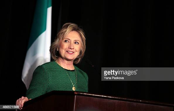 Former Secretary of State Hillary Clinton speaks on stage during a ceremony to induct her into the Irish America Hall of Fame on March 16 2015 in New...