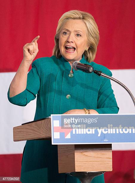 Former Secretary of State Hillary Clinton speaks to supporters during a campaign event at the the Elwell Family food Center at the Iowa State...