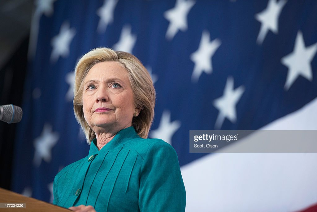 Former Secretary of State <a gi-track='captionPersonalityLinkClicked' href=/galleries/search?phrase=Hillary+Clinton&family=editorial&specificpeople=76480 ng-click='$event.stopPropagation()'>Hillary Clinton</a> speaks to supporters during a campaign event at the the Elwell Family food Center at the Iowa State Fairgrounds on June 14, 2015 in Des Moines, Iowa. Clinton officially kicked off her 2016 bid for the White House yesterday during an event on New Yorks Roosevelt Island.