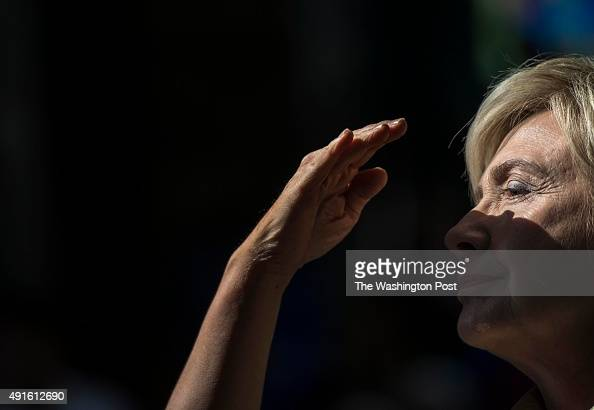 Former Secretary of State Hillary Clinton speaks to voters at a town hall meeting in Davenport Iowa on Tuesday October 6 2015