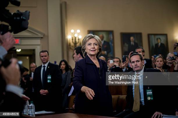 Former Secretary of State Hillary Clinton testifies before the House Select Committee on Benghazi on Capitol Hill in Washington DC Thursday October...