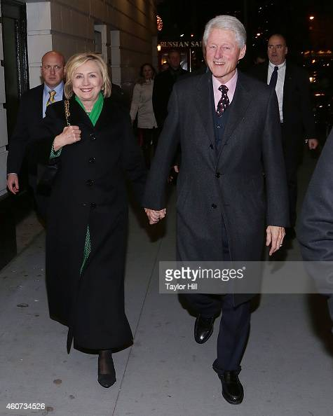 Former Secretary of State Hillary Rodham Clinton and former President of the United States Bill Clinton attend a showing of 'The Last Ship' after the...