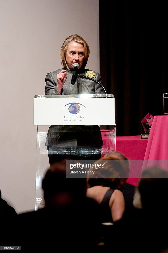 Former Secretary of State Hillary Rodham Clinton attends the 2013 Spirit Of Helen Keller Gala at Christie's on May 22, 2013 in New York City.