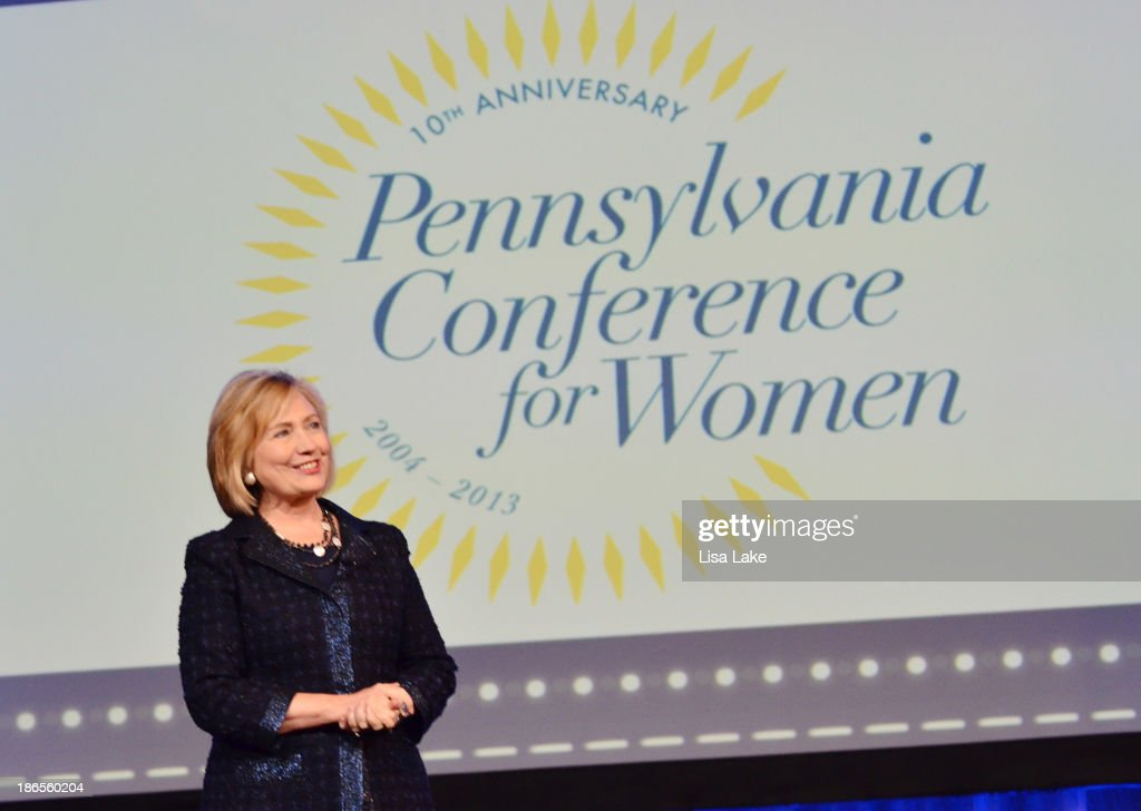 Former Secretary of State Hillary Rodham Clinton speaks on stage at the Pennsylvania Conference For Women 2013 at Philadelphia Convention Center on November 1, 2013 in Philadelphia, Pennsylvania.