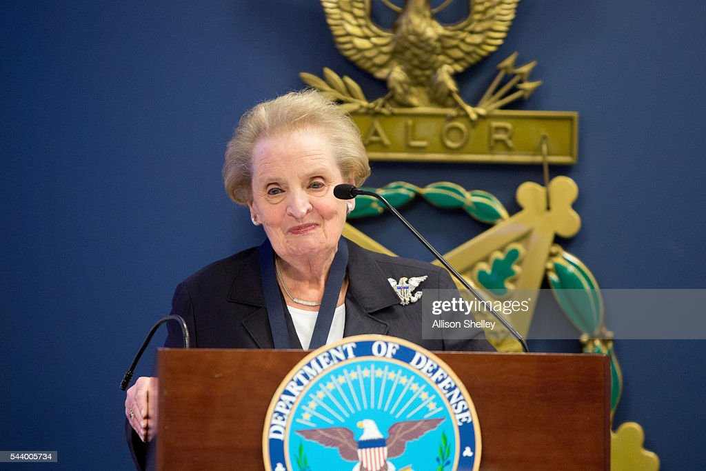 Former Secretary of State Madeleine Albright addresses the audience after being presented with the Department of Defense Medal for Distinguished...