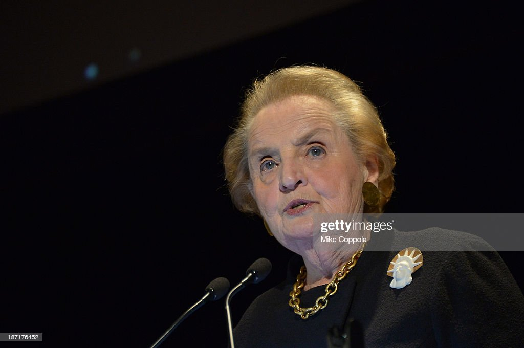 Former Secretary of State <a gi-track='captionPersonalityLinkClicked' href=/galleries/search?phrase=Madeleine+Albright&family=editorial&specificpeople=211429 ng-click='$event.stopPropagation()'>Madeleine Albright</a> attends the Annual Freedom Award Benefit hosted by the International Rescue Committee at the Waldorf-Astoria hotel on November 6, 2013 in New York City.