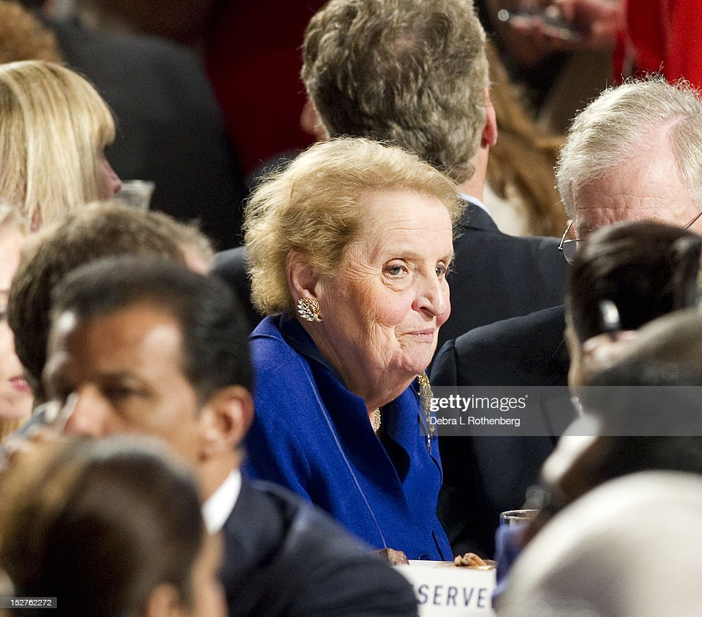 Former Secretary of State <a gi-track='captionPersonalityLinkClicked' href=/galleries/search?phrase=Madeleine+Albright&family=editorial&specificpeople=211429 ng-click='$event.stopPropagation()'>Madeleine Albright</a> attends the Clinton Global Initiative 2012 at the New York Sheraton Hotel & Tower on September 25, 2012 in New York City.