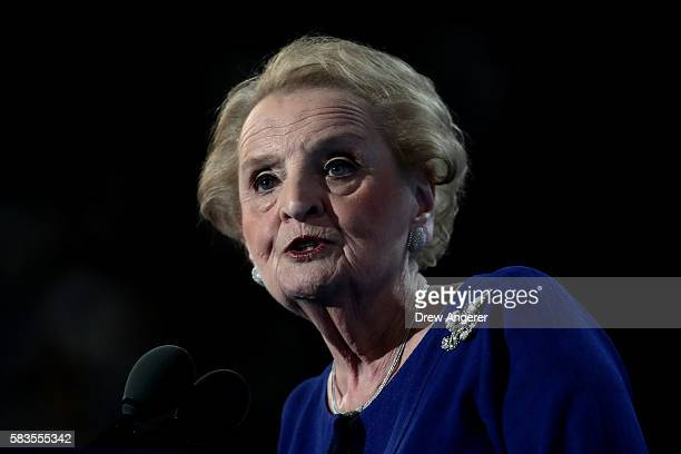 Former secretary of state Madeleine Albright delivers remarks on the second day of the Democratic National Convention at the Wells Fargo Center July...