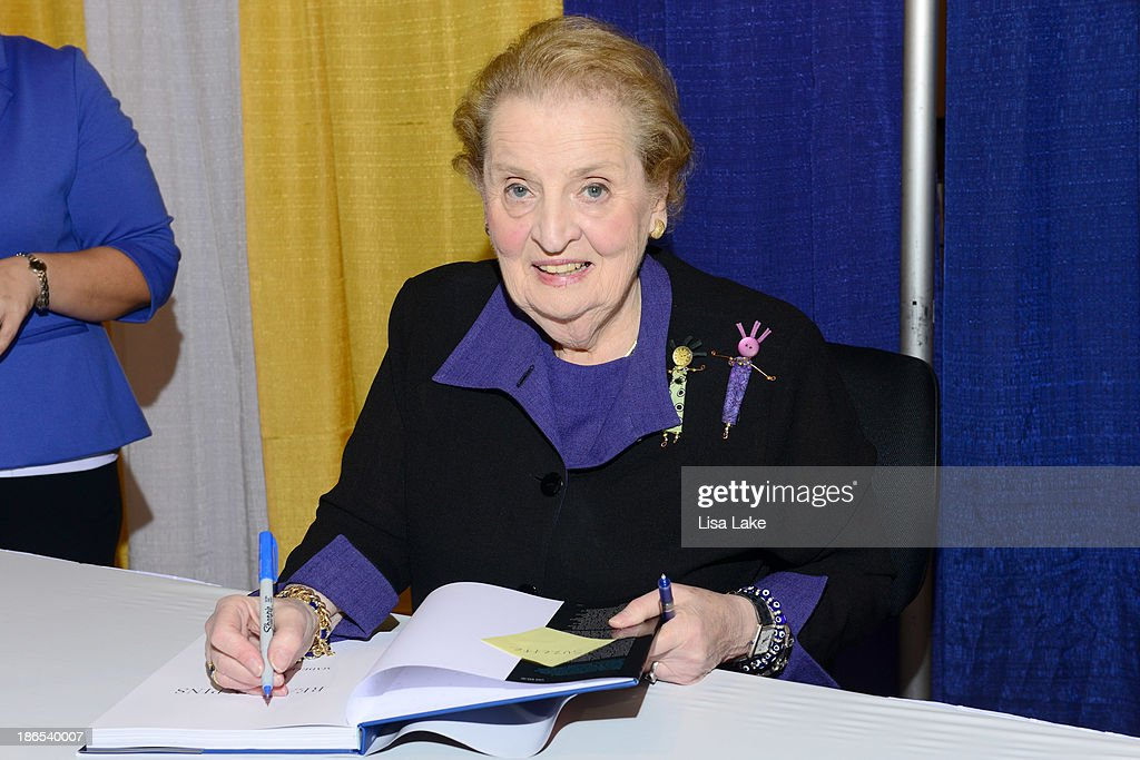 Former Secretary of State <a gi-track='captionPersonalityLinkClicked' href=/galleries/search?phrase=Madeleine+Albright&family=editorial&specificpeople=211429 ng-click='$event.stopPropagation()'>Madeleine Albright</a> signs books at the Pennsylvania Conference For Women 2013 at Philadelphia Convention Center on November 1, 2013 in Philadelphia, Pennsylvania.