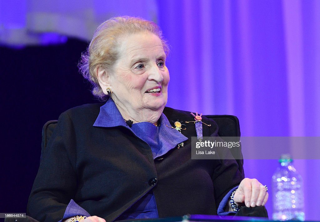Former Secretary of State <a gi-track='captionPersonalityLinkClicked' href=/galleries/search?phrase=Madeleine+Albright&family=editorial&specificpeople=211429 ng-click='$event.stopPropagation()'>Madeleine Albright</a> speaks on stage at the Pennsylvania Conference For Women 2013 at Philadelphia Convention Center on November 1, 2013 in Philadelphia, Pennsylvania.