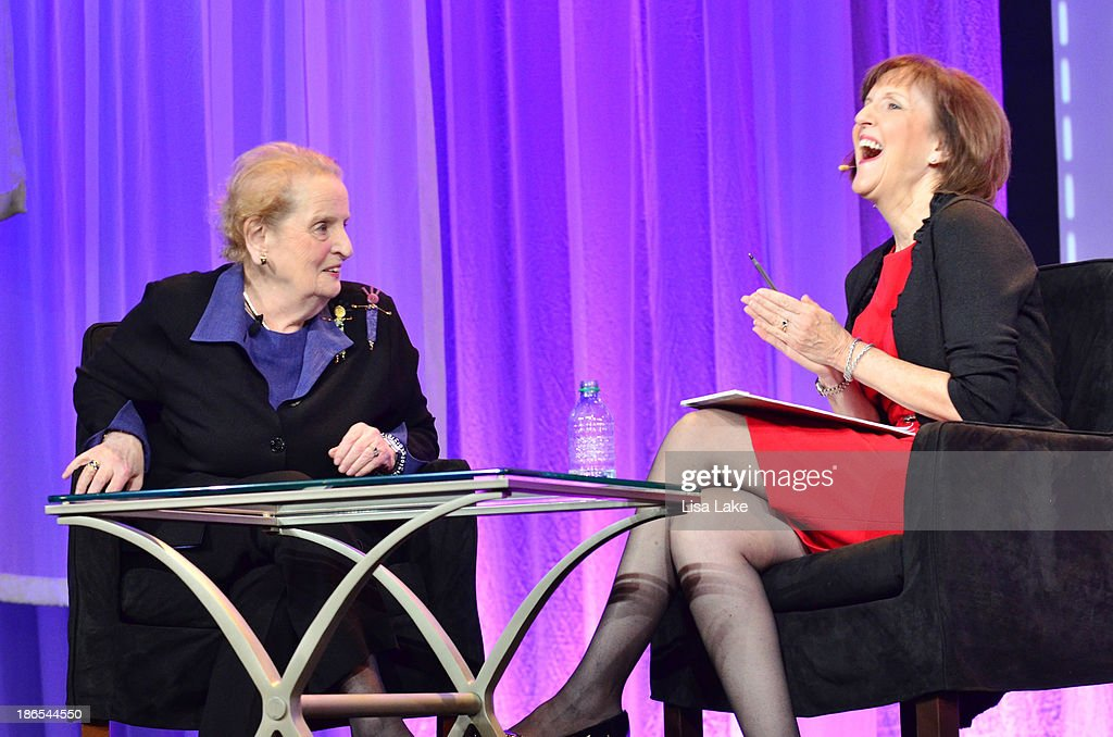 Former Secretary of State <a gi-track='captionPersonalityLinkClicked' href=/galleries/search?phrase=Madeleine+Albright&family=editorial&specificpeople=211429 ng-click='$event.stopPropagation()'>Madeleine Albright</a> (L) speaks on stage with Washington Post Reporter Karen Tumulty at the Pennsylvania Conference For Women 2013 at Philadelphia Convention Center on November 1, 2013 in Philadelphia, Pennsylvania.