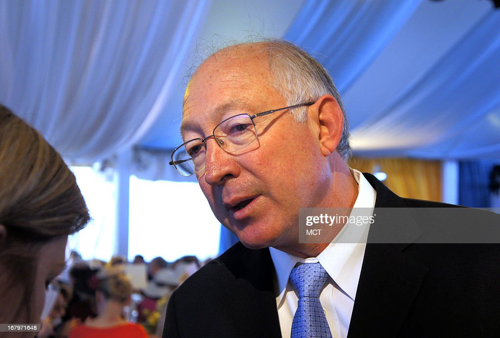 Former Secretary of the Interior Ken Salazar speaks attends the Trust for the National Mall luncheon, May 2, 2013, in Washington, DC. The Trust is looking to renovate the area of the nation's capital that stretches from the U.S. Capitol to the Lincoln Memorial and is lined with Smithsonian museums and other monuments.