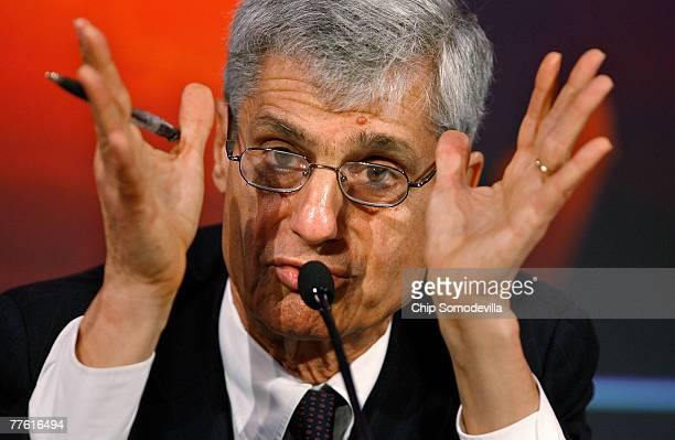 Former Secretary of the Treasury Robert Rubin joins other former military and political leaders to participate in a mock global energy crisis at the...