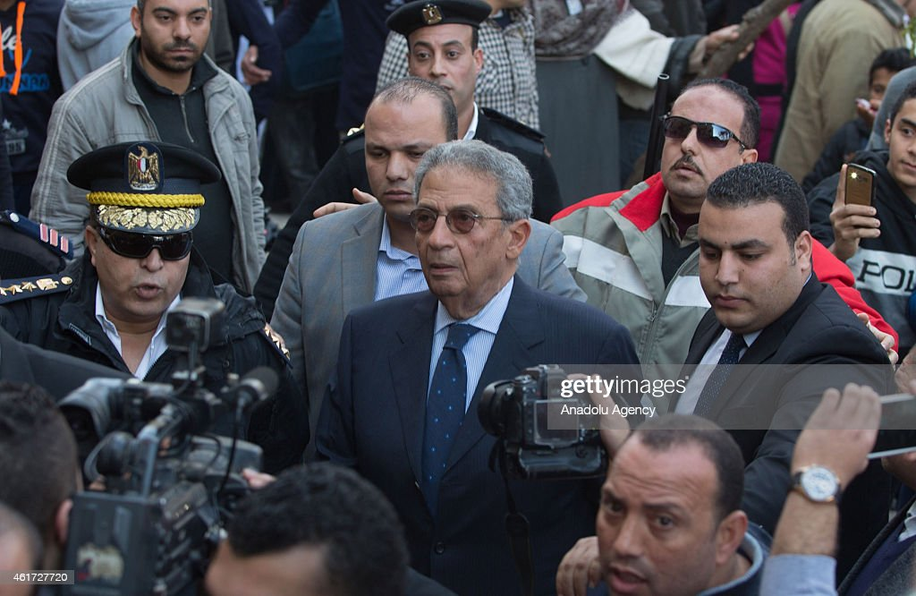 Former secretary-general of the Arab League <a gi-track='captionPersonalityLinkClicked' href=/galleries/search?phrase=Amr+Moussa&family=editorial&specificpeople=213955 ng-click='$event.stopPropagation()'>Amr Moussa</a> (C) attends the funeral of Egyptian actress Faten Hamama, died at the age of 84, in 6th of October City of Cairo, Egypt on January 18, 2015.