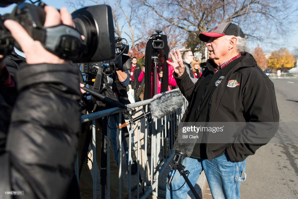 Former Sen. Ben Nighthorse Campbell, R-Colo., speaks to the media during the arrival of the U.S. Capitol Christmas Tree from Colorado on Monday, Nov. 26, 2012. The tree lighting ceremony will be held the evening of December 4th on the West Front of the Capitol.