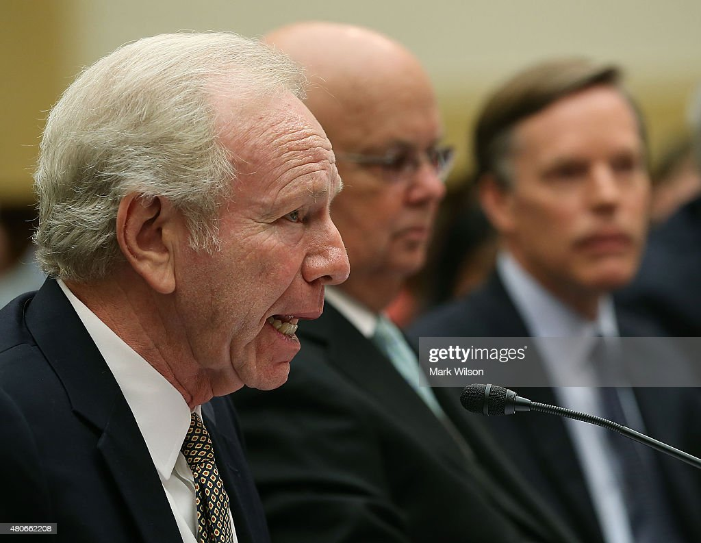 Former Sen Joseph Lieberman cochair of the Foundation for the Defense of Democracies speaks about Iran while flanked by former CIA Director retired...