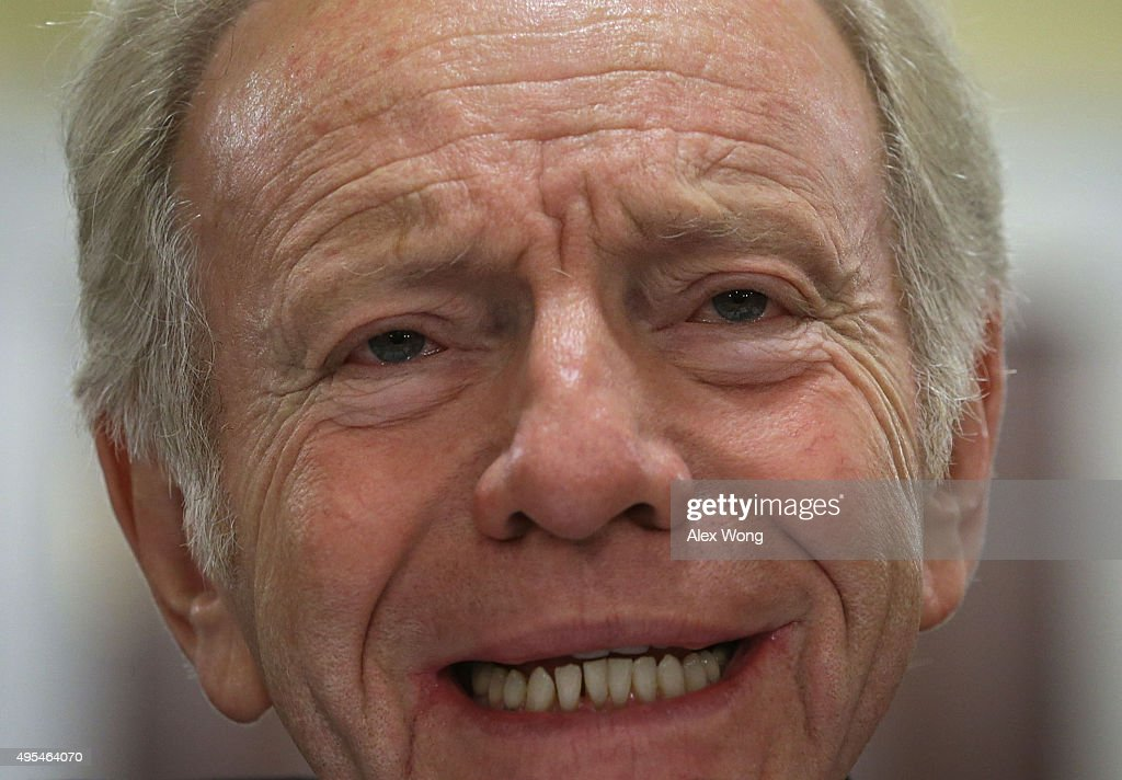 Former Sen Joseph Lieberman testifies during a hearing before the House Homeland Security Committee November 3 2015 on Capitol Hill in Washington DC...