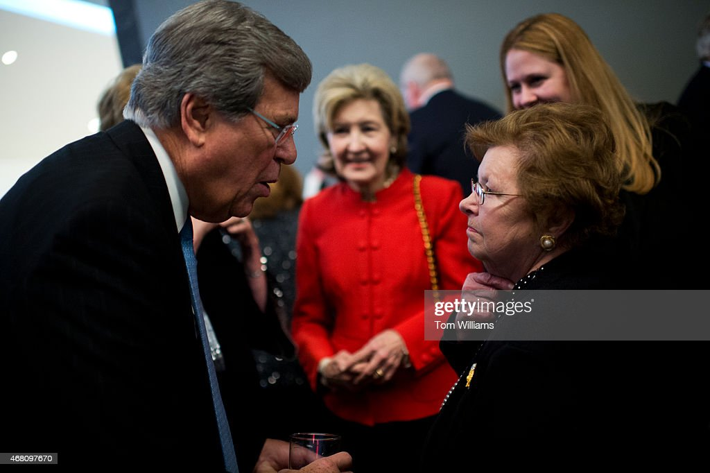 Former Sen. <a gi-track='captionPersonalityLinkClicked' href=/galleries/search?phrase=Trent+Lott&family=editorial&specificpeople=202663 ng-click='$event.stopPropagation()'>Trent Lott</a>, R-Miss., talks with Sen. <a gi-track='captionPersonalityLinkClicked' href=/galleries/search?phrase=Barbara+Mikulski&family=editorial&specificpeople=226768 ng-click='$event.stopPropagation()'>Barbara Mikulski</a>, D-Md., as former Sen. <a gi-track='captionPersonalityLinkClicked' href=/galleries/search?phrase=Kay+Bailey+Hutchison&family=editorial&specificpeople=218057 ng-click='$event.stopPropagation()'>Kay Bailey Hutchison</a>, R-Texas, looks on, during a gala that was part of the dedication ceremony for the Edward M. Kennedy Institute in Boston, Mass., March 29, 2015.