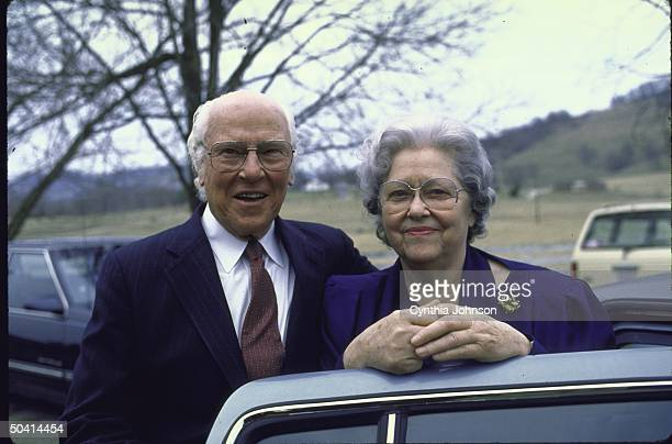 Former Senator Albert A Gore Sr posing with his wife Pauline after his son's victory in the Super Tuesday Presidential Primary