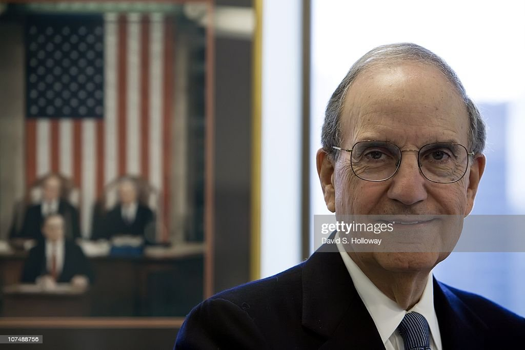 Former Senator George Mitchell in his office at DLA Piper on March 5, 2008 in New York City. George John Mitchell, Jr., was born August 20, 1933, and is the U.S. Special Envoy for Middle East Peace under the Obama administration. A Democrat, Mitchell was a United States Senator who served as the Senate Majority Leader from 1989 to 1995. He was chairman of The Walt Disney Company from March 2004 until January 2007, and was chairman of the international law firm DLA Piper at the time of his appointment as special envoy. He was the Chancellor of Queen's University in Belfast, Northern Ireland and was the main investigator in both Mitchell Reports.