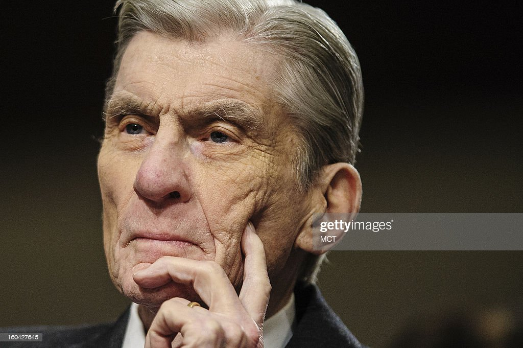 Former Senator John Warner (R-VA) looks on as he prepares to introduce former Senator Chuck Hagel (R-NE) to the Senate Armed Services Committee on Hagel's nomination to become secretary of defense, Thursday, January 31, 2013.