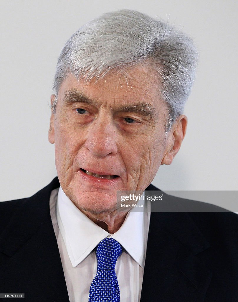 Former Senator John Warner (R-VA) makes a brief statement about his ex-wife Elizabeth Taylor, who died today at the age of 79, on March 23, 2011 in Washington, DC. Sen. Warner was attending a discussion on clean energy solutions at the Pew Charitable Trusts.