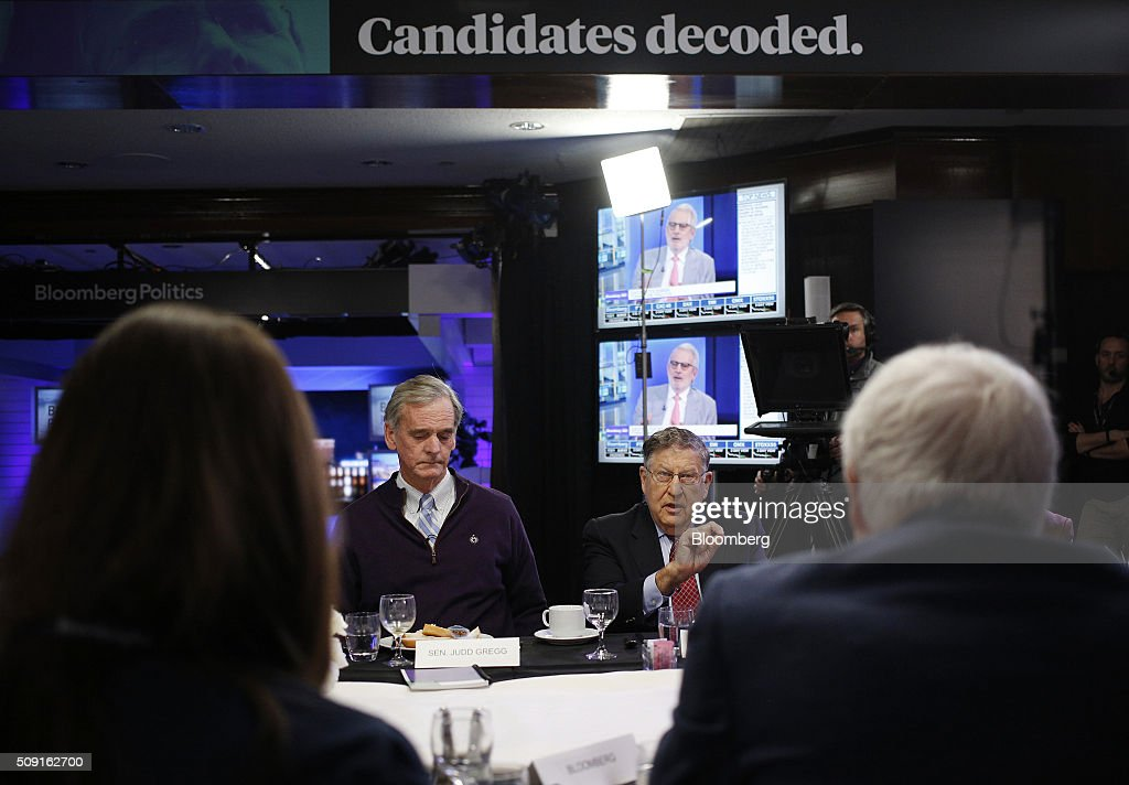 Former Senator <a gi-track='captionPersonalityLinkClicked' href=/galleries/search?phrase=Judd+Gregg&family=editorial&specificpeople=644815 ng-click='$event.stopPropagation()'>Judd Gregg</a>, a Republican from New Hampshire, left, listens as <a gi-track='captionPersonalityLinkClicked' href=/galleries/search?phrase=John+H.+Sununu&family=editorial&specificpeople=201649 ng-click='$event.stopPropagation()'>John H. Sununu</a>, former governor of New Hampshire, speaks during a Bloomberg Politics interview in Manchester, New Hampshire, U.S., on Tuesday, Feb. 9, 2016. Sununu, an outspoken Trump critic, said a national convention this summer 'that starts undecided is quite possible.' Photographer: Luke Sharrett/Bloomberg via Getty Images