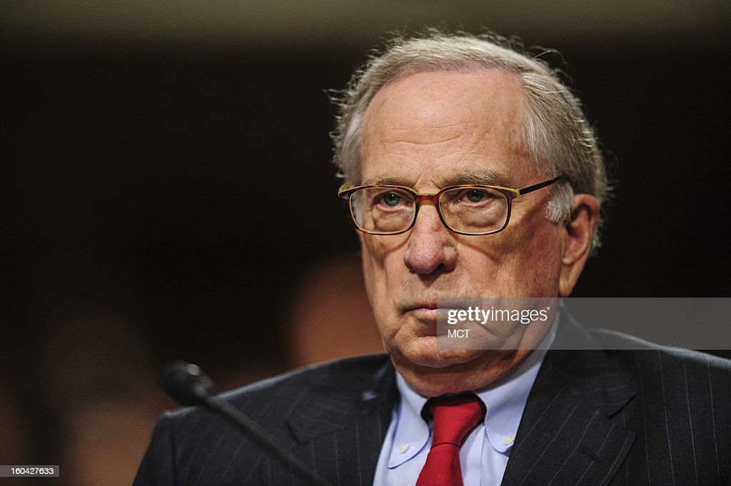 Former Senator Sam Nunn (D-GA) looks on as he prepares to introduce former Senator Chuck Hagel (R-NE) to the Senate Armed Services Committee on Hagel's nomination to become secretary of defense, Thursday, January 31, 2013.
