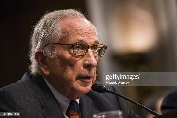Former Senator Sam Nunn testifies on behalf of retired Marine Corps General James Mattis before the Senate Armed Services Committee who is deciding...