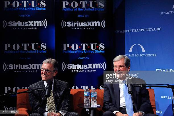 Former senators Tom Daschle left and Trent Lott right discuss their new book Crisis Point at SiriusXMBipartisan Policy Center's event hosted by POTUS...