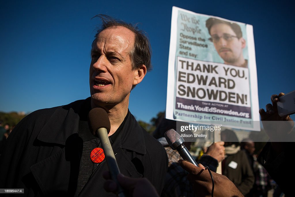 Former senior National Security Agency senior executive Thomas Drake speaks to reporters during the Stop Watching Us Rally protesting surveillance by the U.S. National Security Agency, on October 26, 2013, in front of the U.S. Capitol building in Washington, D.C. The rally began at Union Station and included a march that ended in front of the U.S. Capitol building and speakers such as author Naomi Wolf and Jesselyn Radack, whistleblower and Dennis Kucinich.