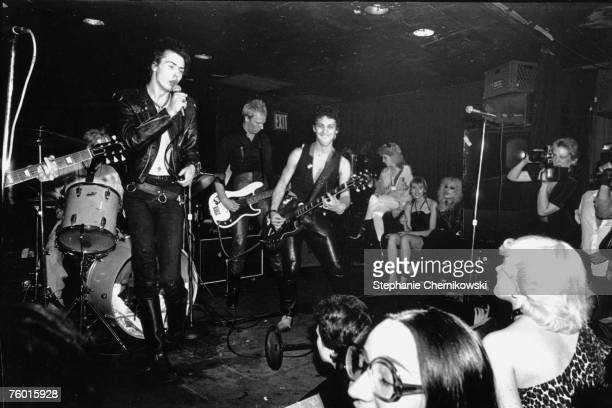 Former Sex Pistol Sid Vicious performs with members of The New York Dolls including Arthur Kane and Jerry Nolan at Max's Kansas City circa 1978 in...