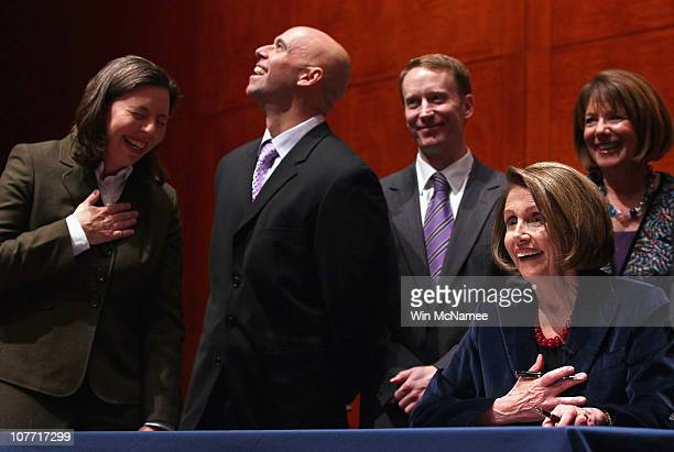 Former Sgt 1st Class Stacy Vasquez US Army Lt Col Victor Fehrenbach USAF and Former Maj Mike Almy USAF react as Speaker of the House Nancy Pelosi...