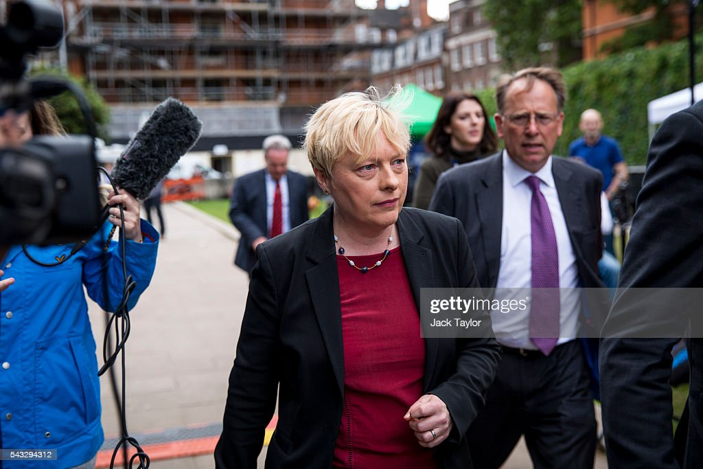 Former Shadow Business Secretary & First Secretary of State <a gi-track='captionPersonalityLinkClicked' href=/galleries/search?phrase=Angela+Eagle&family=editorial&specificpeople=2486372 ng-click='$event.stopPropagation()'>Angela Eagle</a> on College Green, in Westminster on June 27, 2016 in London, England. Ms Eagle has joined several other Labour Party colleagues today by quitting the shadow cabinet over an apparent lack of confidence in Jeremy Corbyn's leadership.