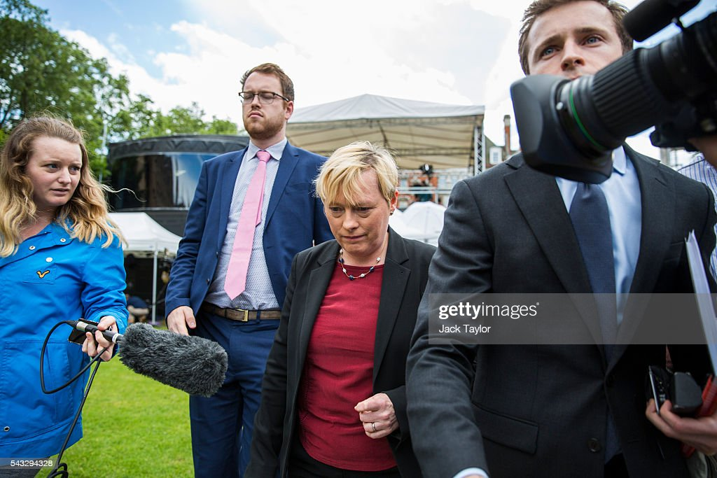 Former Shadow Business Secretary & First Secretary of State <a gi-track='captionPersonalityLinkClicked' href=/galleries/search?phrase=Angela+Eagle&family=editorial&specificpeople=2486372 ng-click='$event.stopPropagation()'>Angela Eagle</a> (C) on College Green, in Westminster on June 27, 2016 in London, England. Ms Eagle has joined several other Labour Party colleagues today by quitting the shadow cabinet over an apparent lack of confidence in Jeremy Corbyn's leadership.