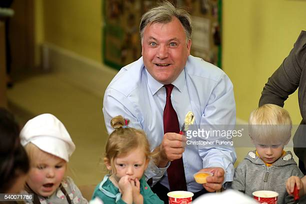 Former shadow chancellor Ed Balls decorate cakes with children during a Vote Remain canvassing visit to Giant Leap Child Care and Learning House on...